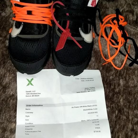 Off-White Nike Air Prestos w Stockx receipt